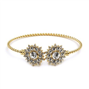 Mariell Crystal And Gold Sunburst Cuff Bracelet For Bridal And Proms 4297b-cr-