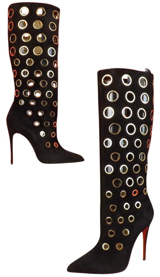save off 18f3c 4a4e6 Christian Louboutin Black/Gold Apollo 100 Suede Eyelets Embellished  Boots/Booties Size EU 38.5 (Approx. US 8.5) Regular (M, B) 52% off retail