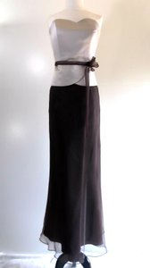 Alfred Angelo Chocolate Brown / Champagne Satin / Organza Style Formal Bridesmaid/Mob Dress Size 14 (L)