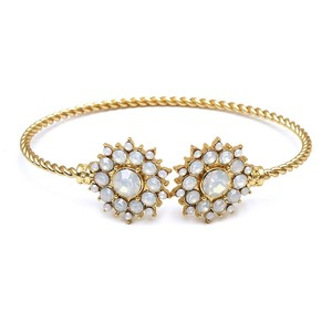 Mariell Opal Crystal And Gold Sunburst Cuff Bracelet For Bridal And Prom 4297b-op-g