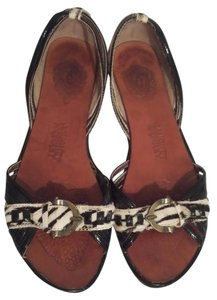 Naughty Monkey Animal Print Open Toe red black Flats