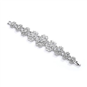 Mariell Antique Silver Art Deco Crystal Wedding Or Prom Barrette 4213hb