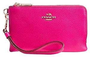 Coach Double Zip Pebbled Wristlet in Ruby Pink