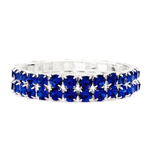 Mariell Bold Size Rhinestone Stretch Bracelet In Royal Blue 4157b-ry