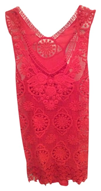 Anthropologie Red Lacey Knit Tank Top/Cami Size 4 (S) Anthropologie Red Lacey Knit Tank Top/Cami Size 4 (S) Image 1