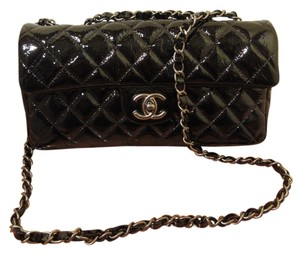 Chanel Patent Leather Quilted Silver Hardware Cross Body Bag