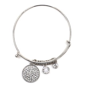Mariell Silver Wire Bangle Charm Bracelet With Pave Discs 4360b-s