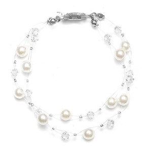 Mariell 2-row Pearl & Crystal Bridal Illusion Bracelet 235b-i-cr-s