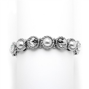 Mariell Silver Fabulous Or Bridesmaids Pearl and Crystal Stretch 4249b Bracelet