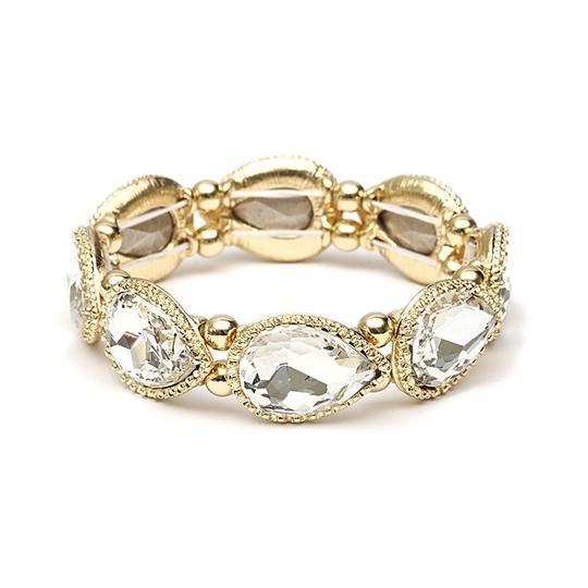 Preload https://item2.tradesy.com/images/mariell-gold-textured-frame-crystal-pears-stretch-4327b-g-bracelet-3929116-0-0.jpg?width=440&height=440