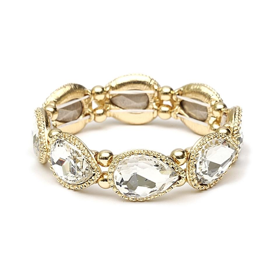 Mariell Gold Textured Frame Crystal Pears Stretch 4327b-g Bracelet ...