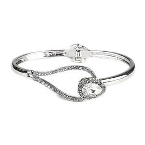 Mariell Silver Interlocking Crystal with Hinge 4329b-s Bracelet
