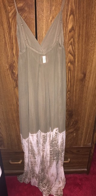 Olive green white tie dye Maxi Dress by Gypsy05 Maxi Silk
