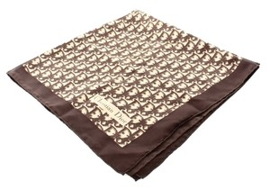 Dior Christian Dior Monogram Brown Cream Diorissimo Silk Satin Scarf.