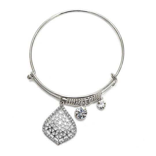 Mariell Silver Wire Bangle Charm with Crystal Filigree 4358b-s Bracelet