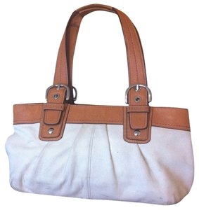 Coach Soho Pleated Tote Per F13732 Satchel In Off White Camel
