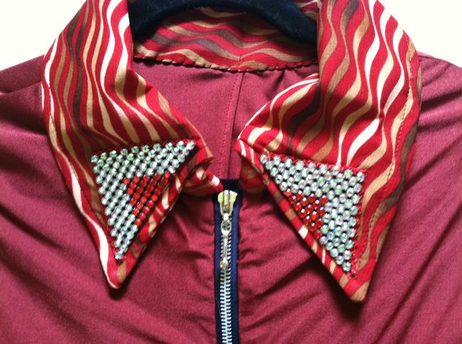 No brand listed Top Burgundy with colorful and beaded cuffs and shirt collar
