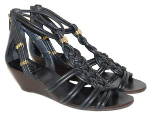 Tory Burch Summer Sandals Size 8 Bennett Black Wedges