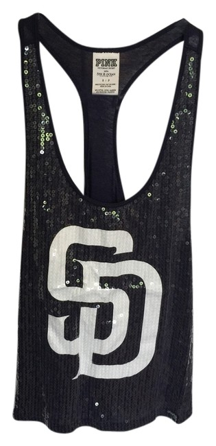 PINK Padres Baseball Sequins Sequin San Diego Padres Top navy blue white