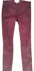 Current/Elliott Leather Burgundy Ankle Zips Straight Pants Burgundy Leather