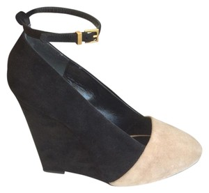 Céline Suede Wedge Ankle Strap Black SD Boots