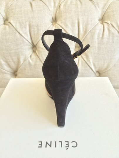 Céline Suede Wedge Ankle Strap Leather Black SD Boots
