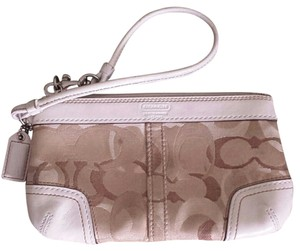 Coach Opt Art Pleated Leather Pink Wristlet in Multi
