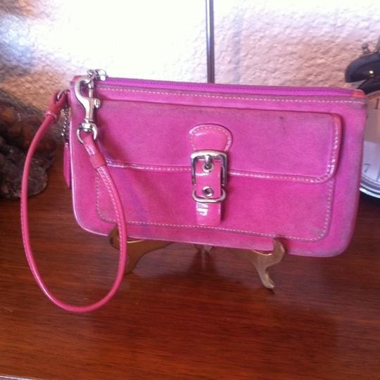 Coach Opt Art Pleated Leather Pink Coral White Brown Fuscia Bundle Wristlet in Multi Image 5