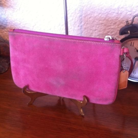 Coach Opt Art Pleated Leather Pink Coral White Brown Fuscia Bundle Wristlet in Multi Image 6