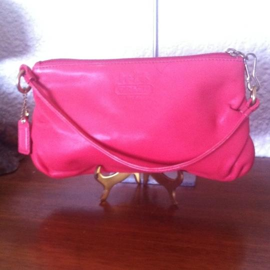 Coach Opt Art Pleated Leather Pink Coral White Brown Fuscia Bundle Wristlet in Multi Image 8