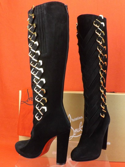 Christian Louboutin Black/Gold Boots