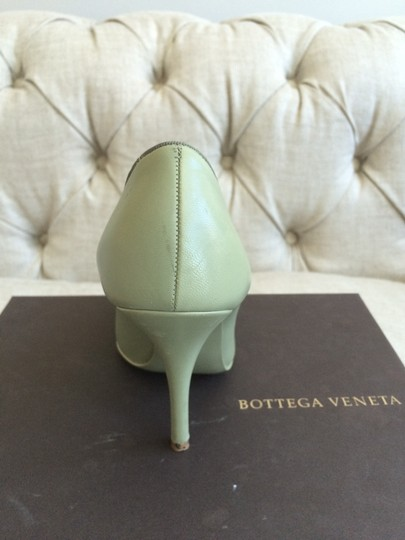 Bottega Veneta Bow Leather Designer Green Stiletto Vintage Mint Pumps