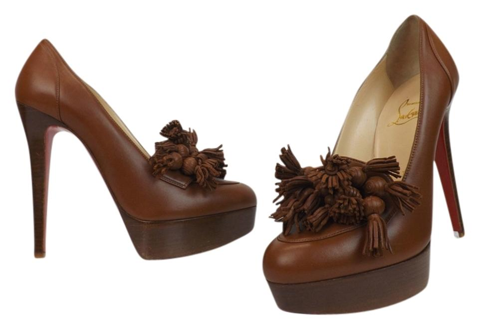 Christian Tasseled Louboutin Cognac Brown Leather Agence Tasseled Christian 140 Platform 6 Pumps 0ce9f8