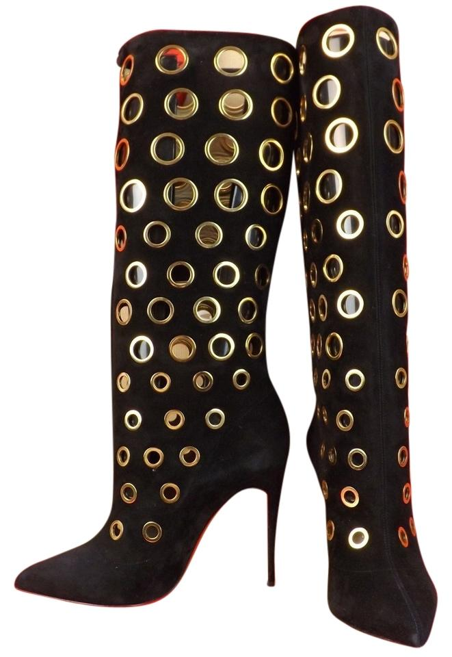 wholesale dealer 87542 d4942 Christian Louboutin Black/Gold Apollo 100 Suede Eyelets Embellished 9  Boots/Booties Size EU 39 (Approx. US 9) Regular (M, B) 52% off retail
