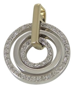 Bloomingdale's Sterling Silver 14K Gold Pave Diamond Circle Pendant Without Chain - Retail $795