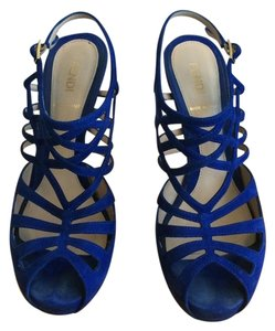 Fendi Suede Strappy Blue Jeans Formal