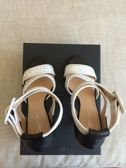 Calvin Klein Collection Ankle Strap Open Toe Leather Designer White & Black Sandals