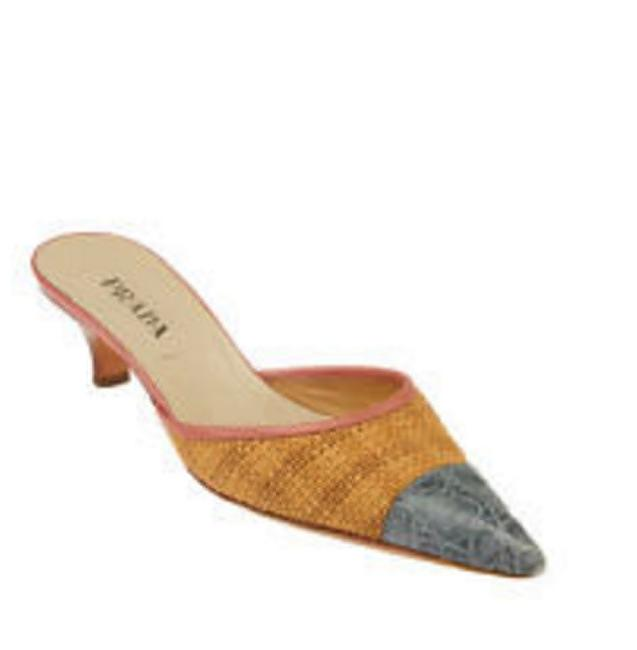 Item - Grey/Pink Paglia Cocco Woven Straw Embossed Leather Mules/Slides Size US 8.5 Regular (M, B)