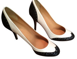 J.Crew Glitter Leather Spectator Black and white Pumps