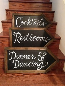 Double Sided Chalkboard Arrow With Stake