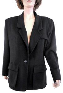 Anne Klein Single Button Designer 100% Wool Suit Jacket Black Blazer