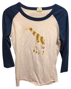 Bitten by Sarah Jessica Parker Giraffes T Shirt White with blue 3/4 sleeves