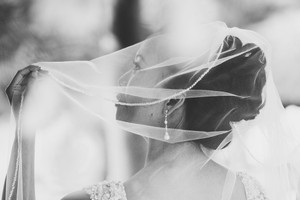 Gorgeous Veil Trimmed With Silver Beads