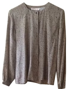 Jerri sherman Silk Buttons Longsleeve Button Down Shirt Beige And Black