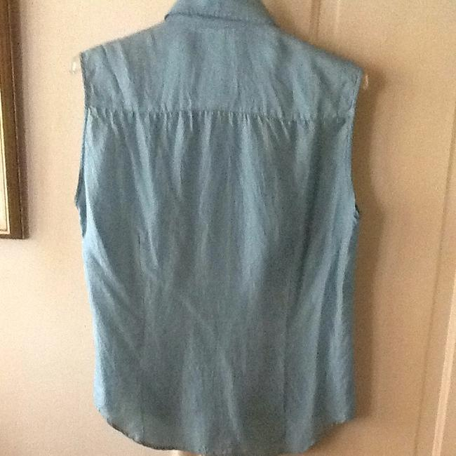 Gerani Button Collar Silk Top Blue