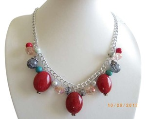 red gemstone beads red chain necklace