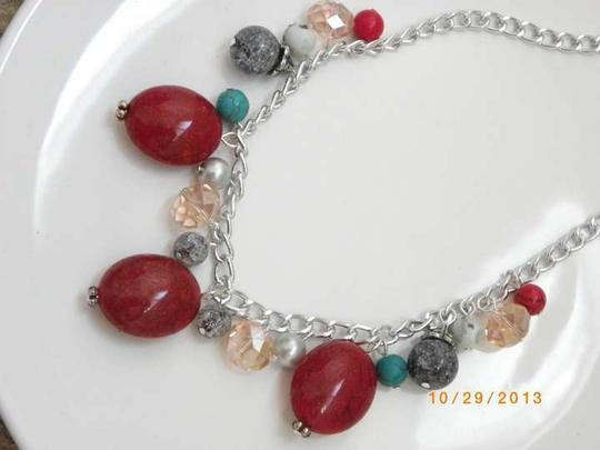 Other red gemstone beads red chain necklace