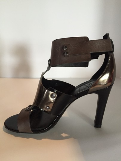 Tory Burch Platinum, Black and Grey Sandals Image 1