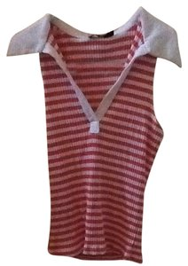 Cpw Petites V-neck Collar Petites Top White And Orange Stripes