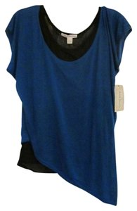 Derek Heart Asymmetrical Layered Camisole Cami Layered T Shirt Blue over black